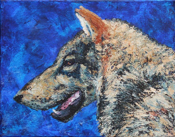 Wolf Night-acrylic painting of a wolf 11x14ins-kathycassell.com