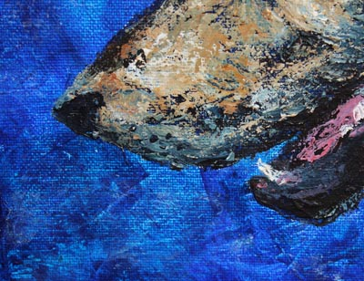 Detail of Wolf Night - painting of a wolf in acrylic on an 11x14ins canvas