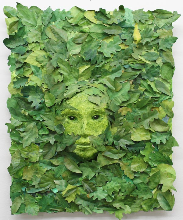 Green woman mixed media artwork-kathycassell.com